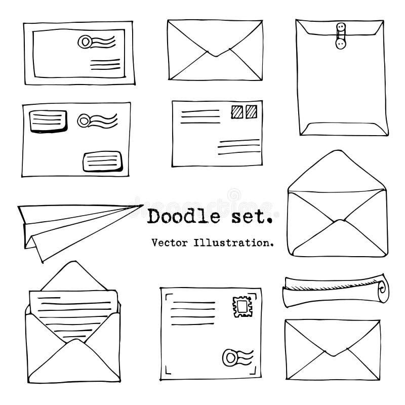 Hand getrokken post, post, brief, envelop, document vliegtuigreeks Vector illustratie Krabbelelementen Post en postpictogram in s vector illustratie