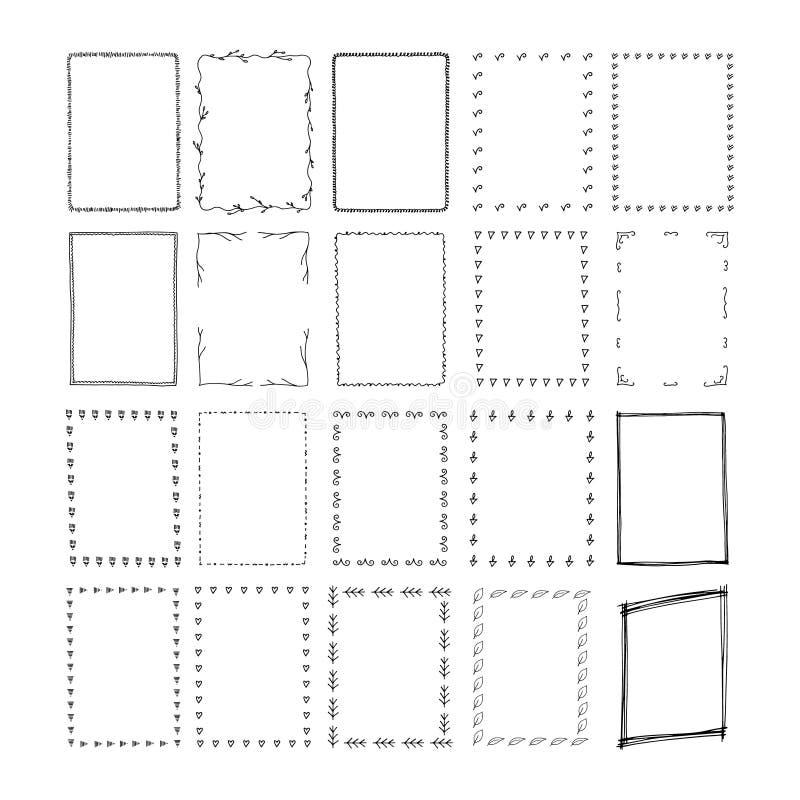 Hand getrokken rechthoekkaders stock illustratie