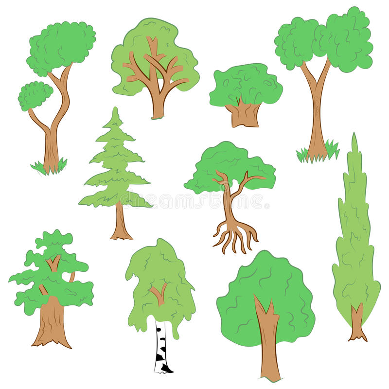 Hand getrokken reeks bomen Krabbeltekeningen van Groene Spar, Cipres, Berk, Eik in Vlakke Stijl vector illustratie