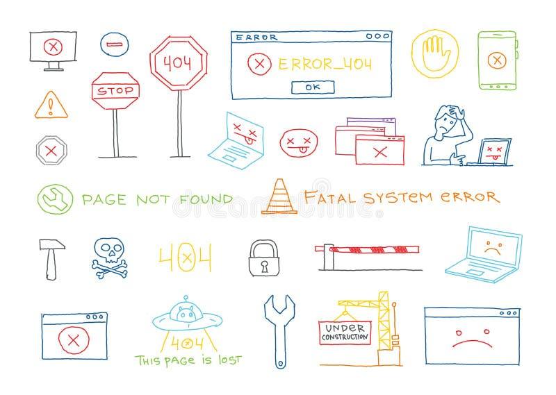 Hand getrokken reeks 404 de pagina gevonden niet van de systeemfout vectorschets stock illustratie