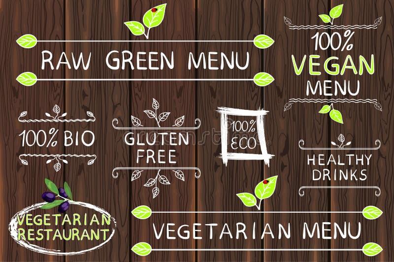 Hand getrokken reeks elementen op hout Ruw, vegetarisch en veganistmenu Vegetarisch restaurant Eco, vrij gluten, 100 bio vector illustratie