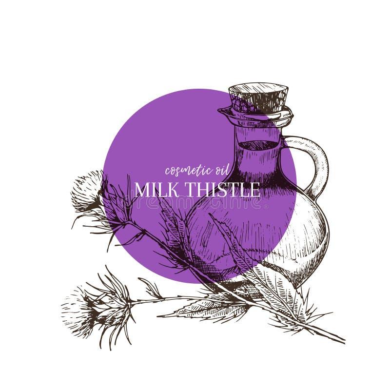 Hand getrokken reeks etherische oliën De vectorbloem van de melkdistel Geneeskrachtig kruid met de fles van het glasdruppelbuisje stock illustratie