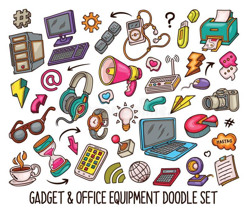 Hand getrokken reeks Gadgetkrabbels in Kleuren vector-01 stock illustratie