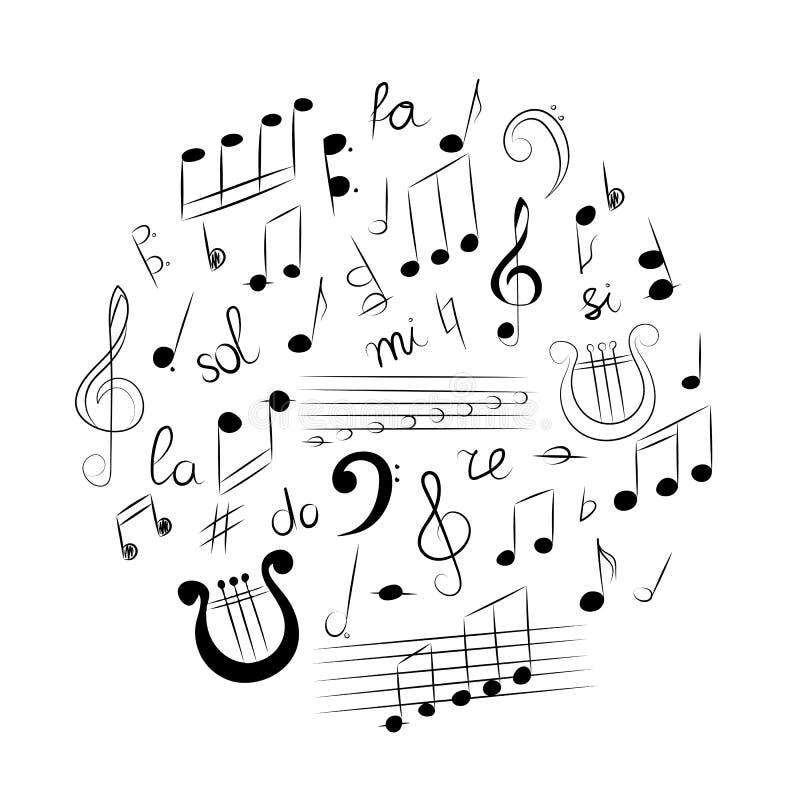 Hand Getrokken Reeks Muzieksymbolen Krabbelg-sleutel, Bass Clef, Nota's en Lier in een Cirlce wordt geschikt die Vector illustrat stock illustratie
