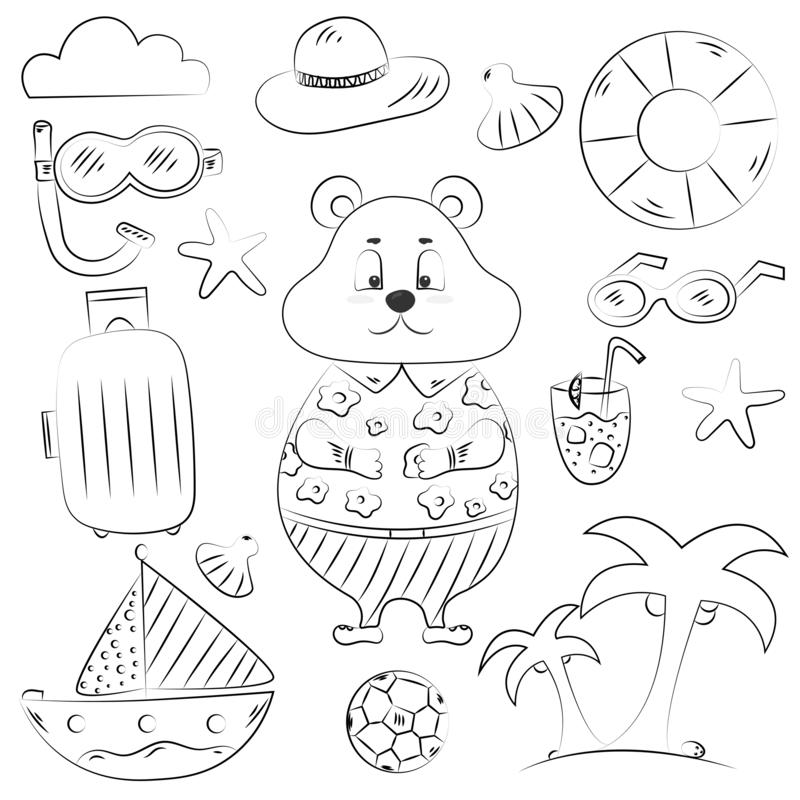 Hand getrokken reeks pictogrammen van de reiskrabbel Draag op vakantie stock illustratie