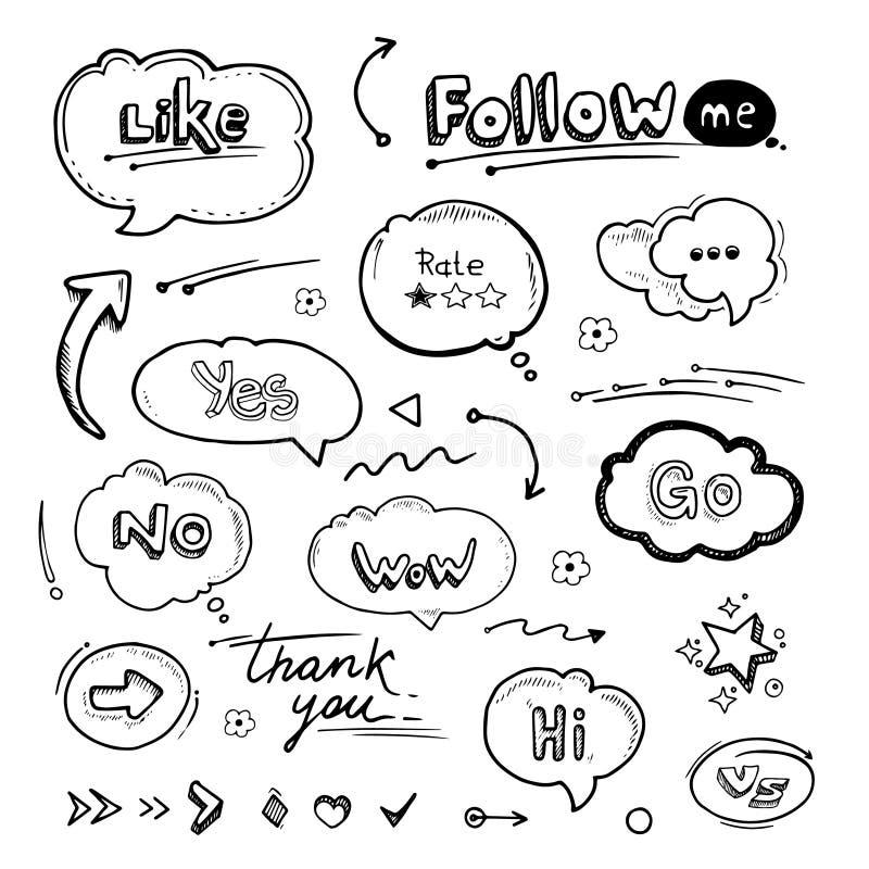 Hand getrokken reeks toespraakbellen met dialoogwoorden royalty-vrije illustratie