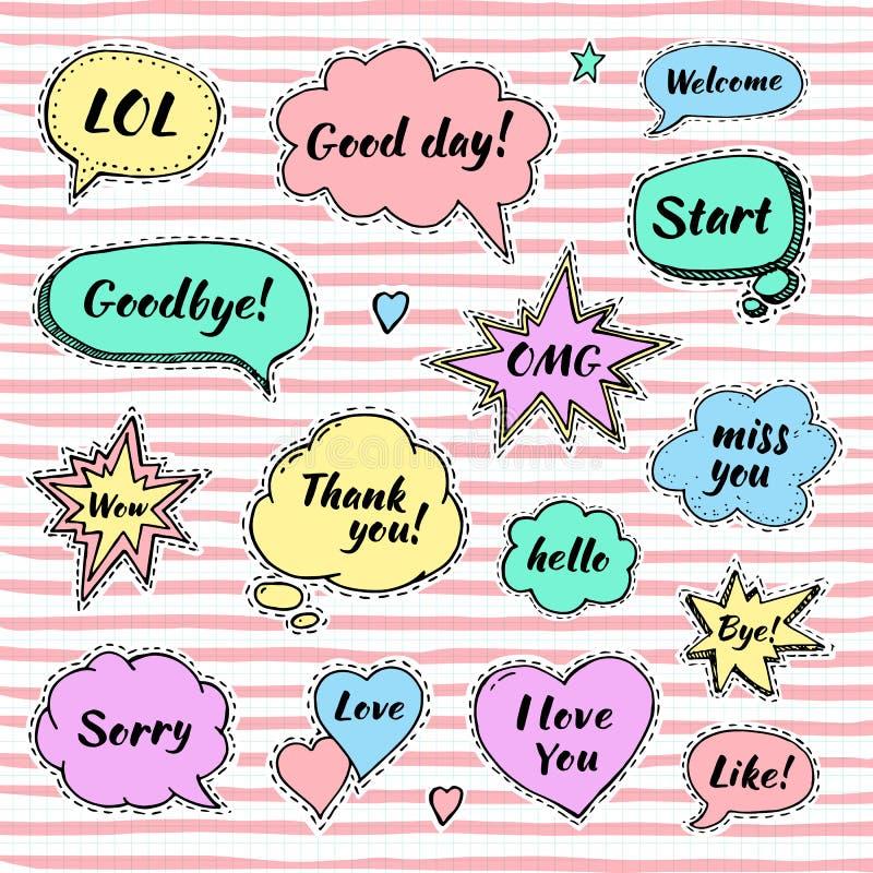 Hand getrokken reeks toespraakbellen met dialoogwoorden stock illustratie