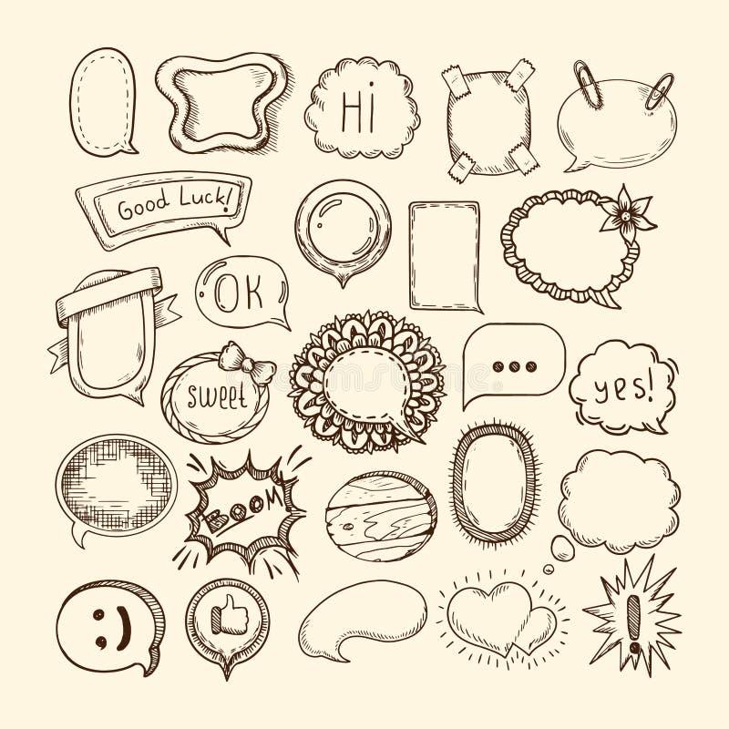 Hand getrokken reeks van bel van de schets de verschillende leuke toespraak, stickers vector illustratie