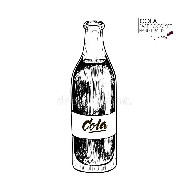 Hand getrokken reeks van snel voedsel Fles van de koude sprankelende drank van de kolasoda wijnoogst gegraveerde vectorillustrati stock illustratie