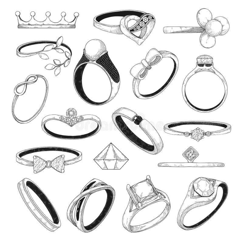 Hand getrokken reeks verschillende juwelenringen Vector illustratie stock illustratie