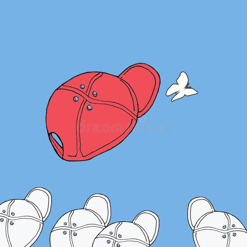 Hand getrokken rode het honkbalmanier GLB van de schetsillustratie op blauwe achtergrond met vlinder stock illustratie