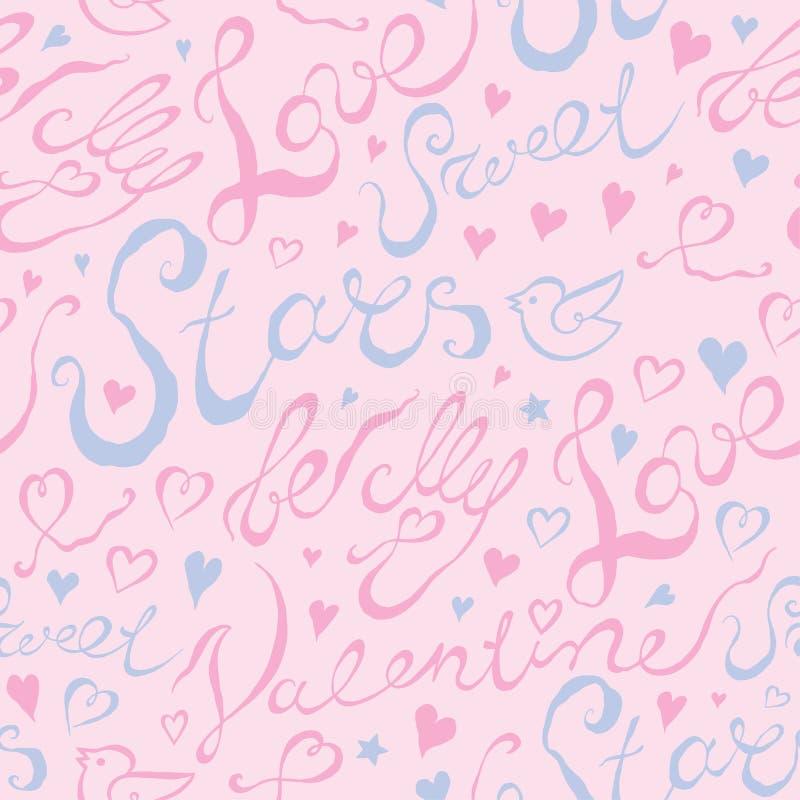 Hand getrokken romantische typografie stock illustratie