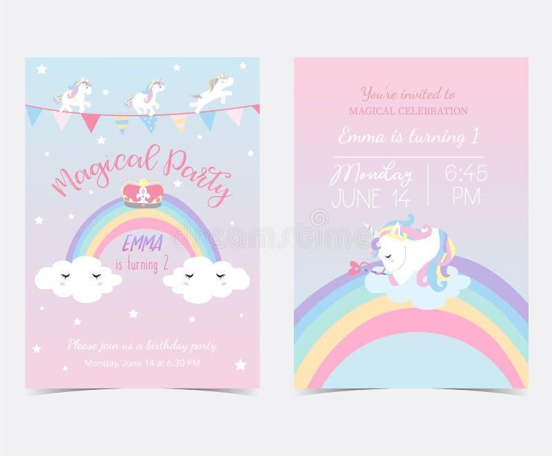 Hand getrokken roze blauw kaart en etiket met slaapeenhoorn, regenboog, s royalty-vrije stock afbeelding