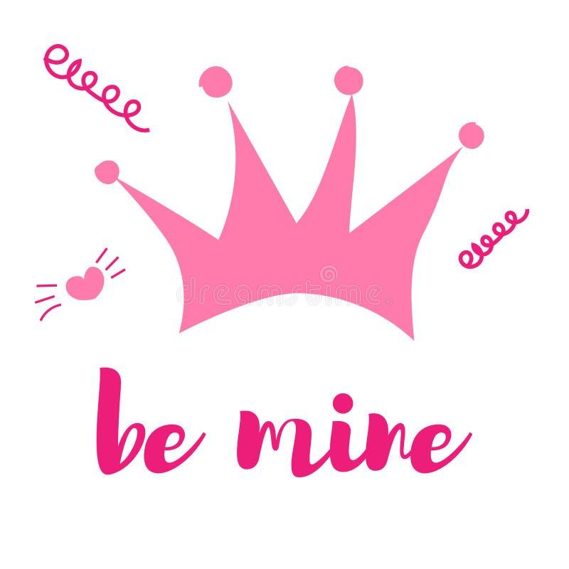 Hand getrokken roze kroon op een witte achtergrond Met de tekst ben mijn stock illustratie