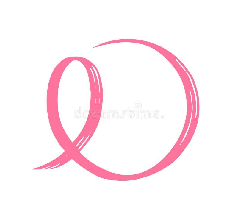 Hand getrokken roze lint Symbool van de bestrijding van borstkanker royalty-vrije illustratie