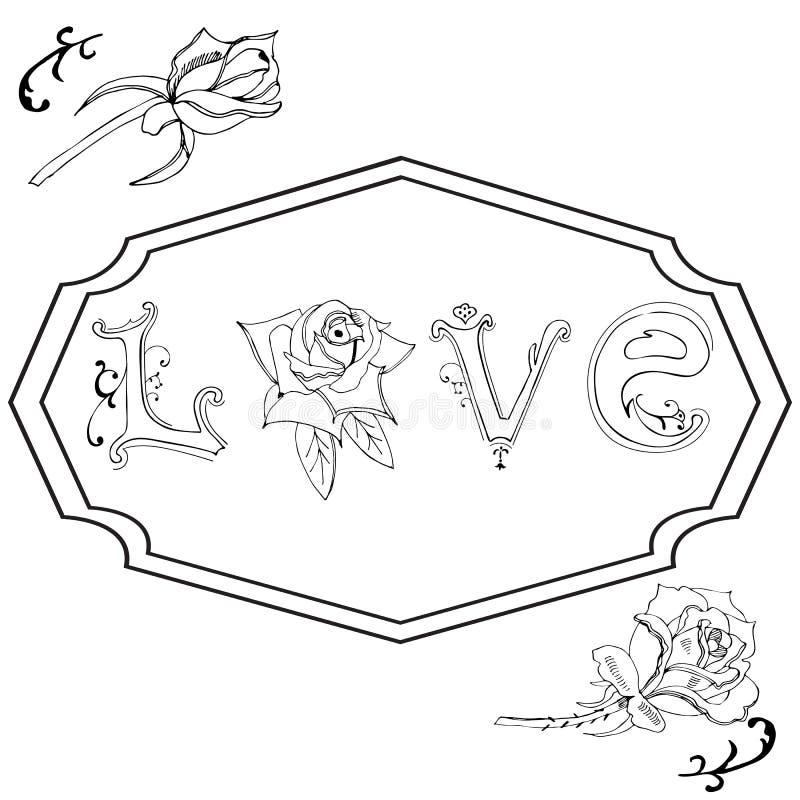 Hand getrokken rozen, brieven en draaien Ontwerpelementen voor de dag van Valentine ` s Zwart-wit voorwerpen royalty-vrije illustratie