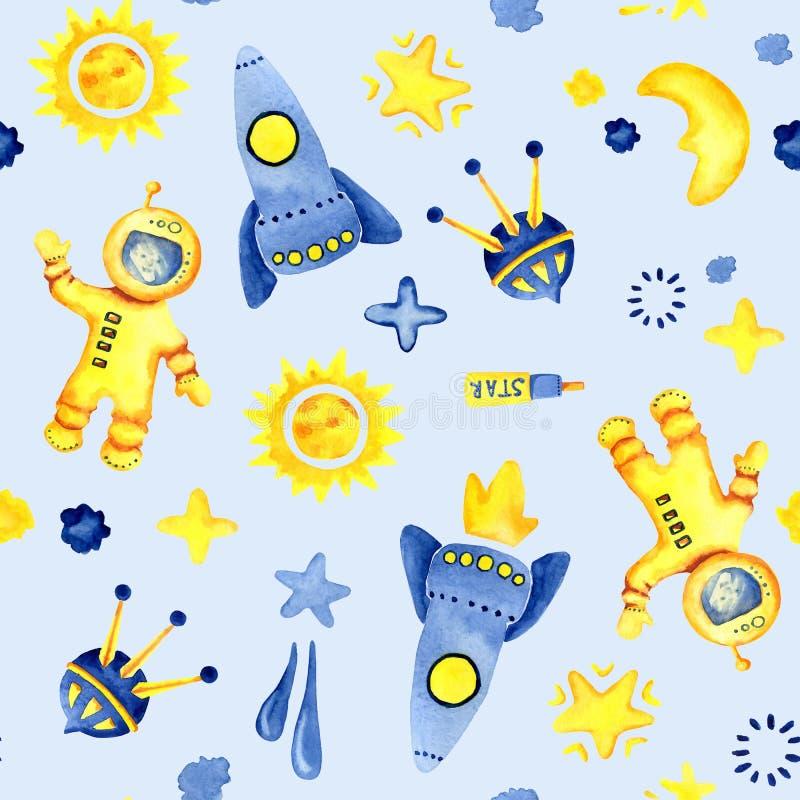 Hand getrokken ruimteelementen naadloos patroon Ruimtewaterverfillustratie en achtergrond beeldverhaal ruimteraketten, planeten,  royalty-vrije illustratie