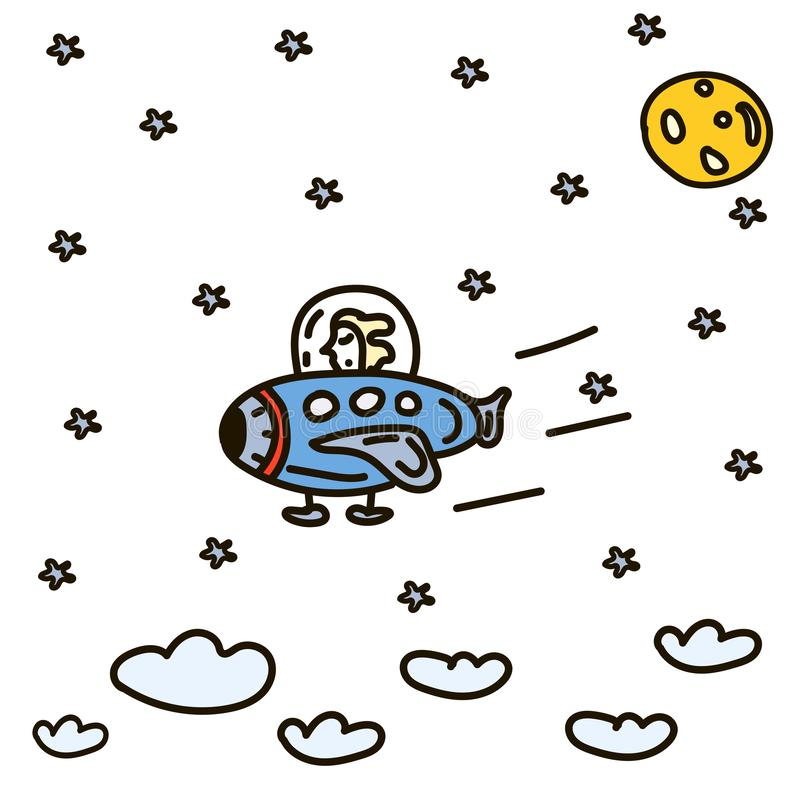 Hand getrokken ruimtekrabbelillustratie Beeldverhaalvector royalty-vrije illustratie