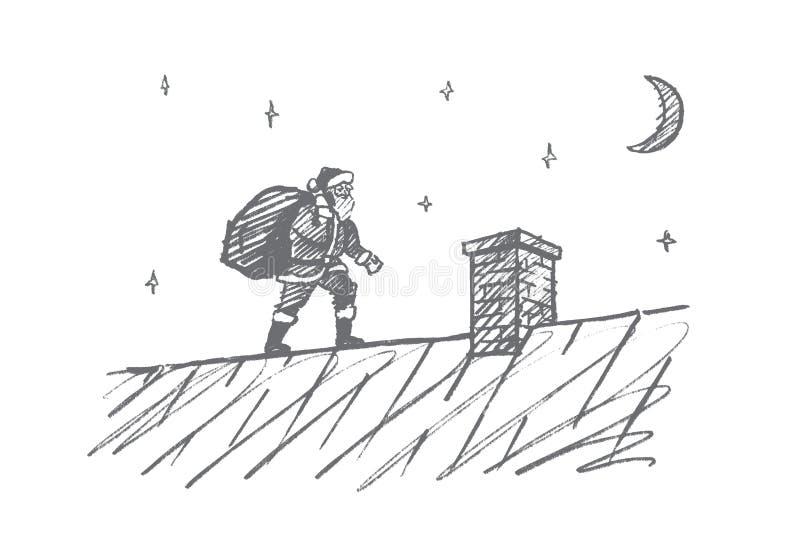 Hand getrokken Santa Claus die naar schoorsteen met giften gaan vector illustratie
