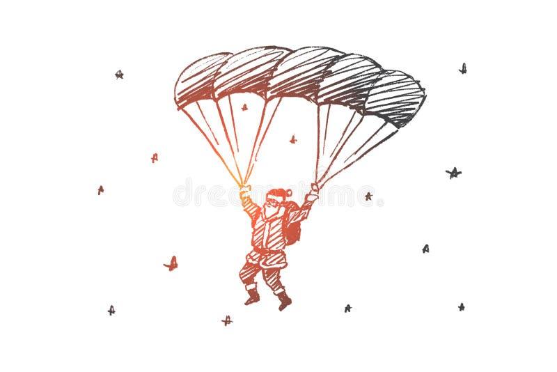 Download Hand Getrokken Santa Claus Die Neer Op Valscherm Vliegen Vector Illustratie - Illustratie bestaande uit samenvatting, ornament: 114225088