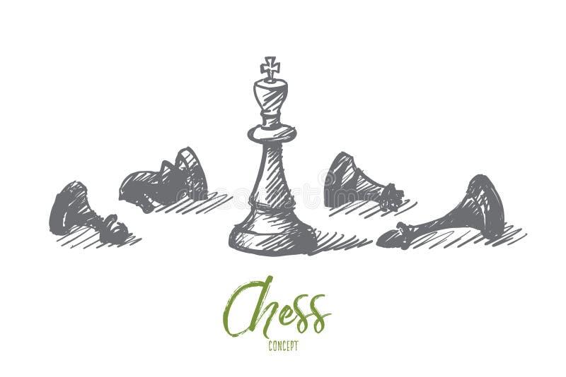 Hand getrokken schaakcijfers met koning in centrum stock illustratie