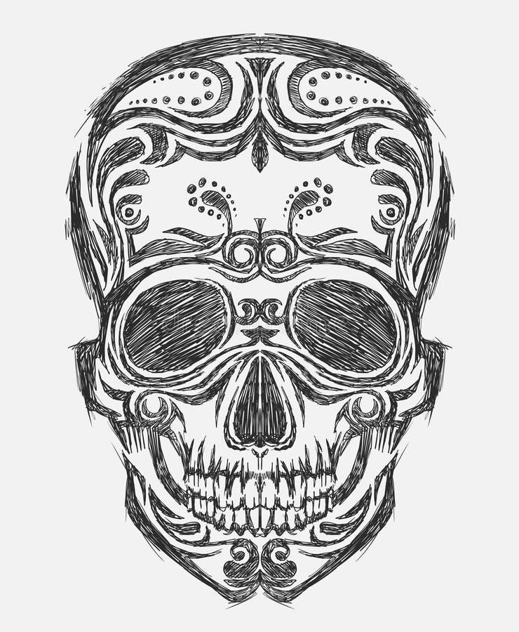Hand getrokken schedel stock illustratie