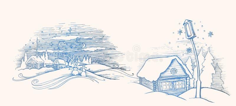 Hand getrokken schets Het huis van de de winterfee buiten Pijnboombos en sneeuw Vector illustratie Malplaatje voor Vrolijke Kerst vector illustratie