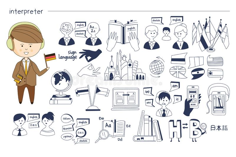 Hand getrokken schets met betrekking tot tolkenberoep Mens in hoofdtelefoons met in hand vlag Zwart-wit vectorpictogrammen van vector illustratie