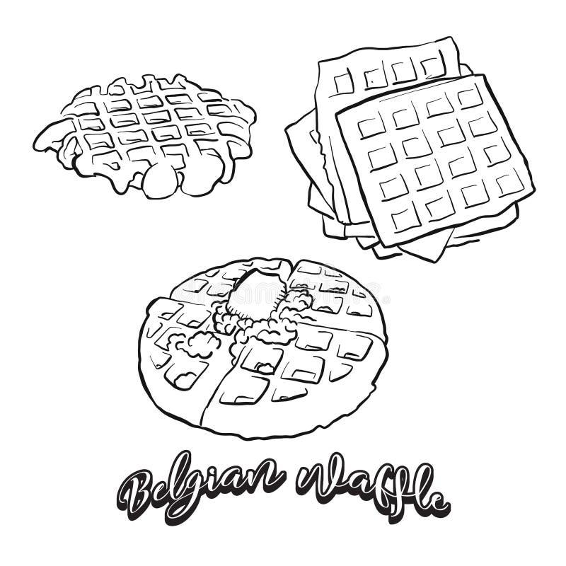 Hand getrokken schets van Belgisch wafelbrood royalty-vrije illustratie