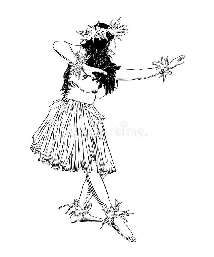 Hand getrokken schets van de Hawaiiaanse die zwarte van de huladanser op witte achtergrond wordt geïsoleerd De gedetailleerde uit stock illustratie
