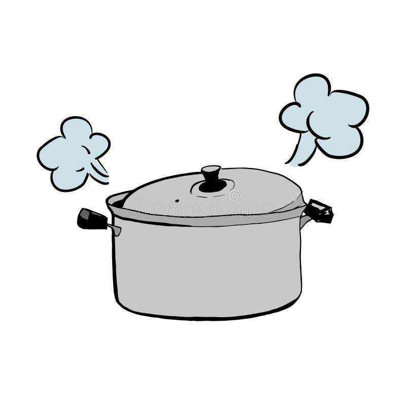 Hand getrokken schets van een gesloten braadpan of een pan voor het koken van vectorillustratie royalty-vrije illustratie