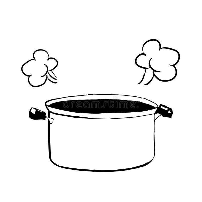 Hand getrokken schets van een open braadpan of een pan voor het koken van vectorillustratie royalty-vrije illustratie