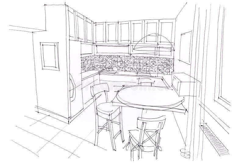 Hand getrokken schets van eetkamerbinnenland met meubilairontwerp stock illustratie