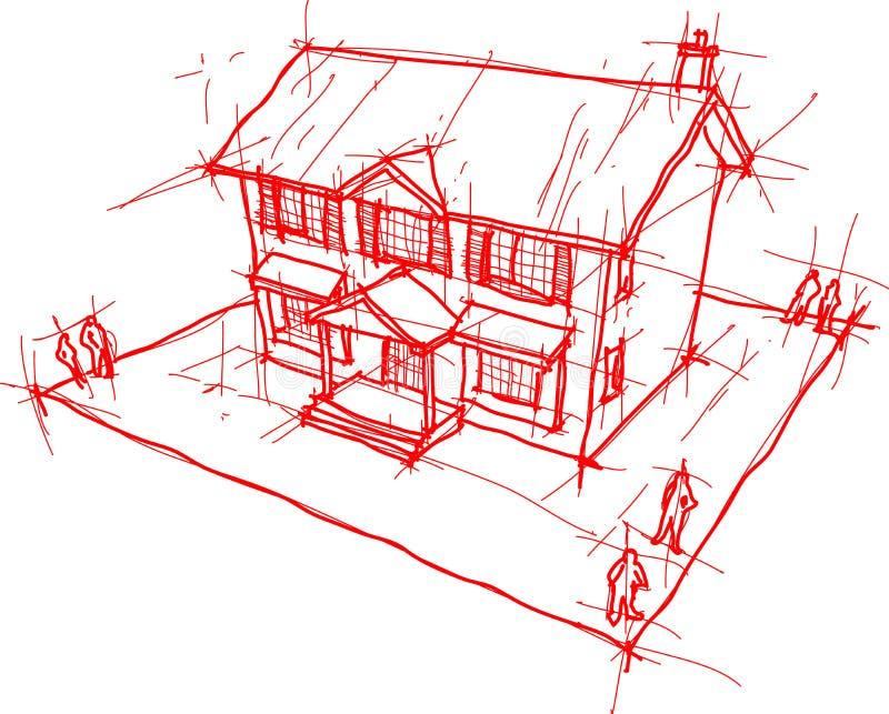 Hand getrokken schets van klassiek koloniaal huis vector illustratie