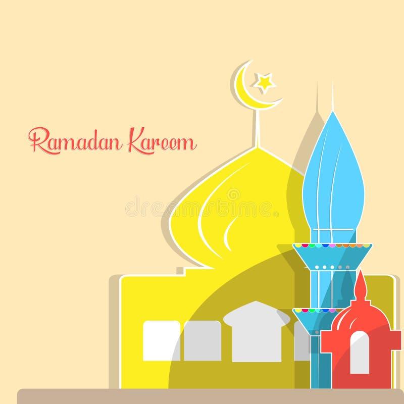 Hand getrokken Schets van koepel van de het ontwerpmoskee van Ramadan Kareem de Islamitische stock illustratie
