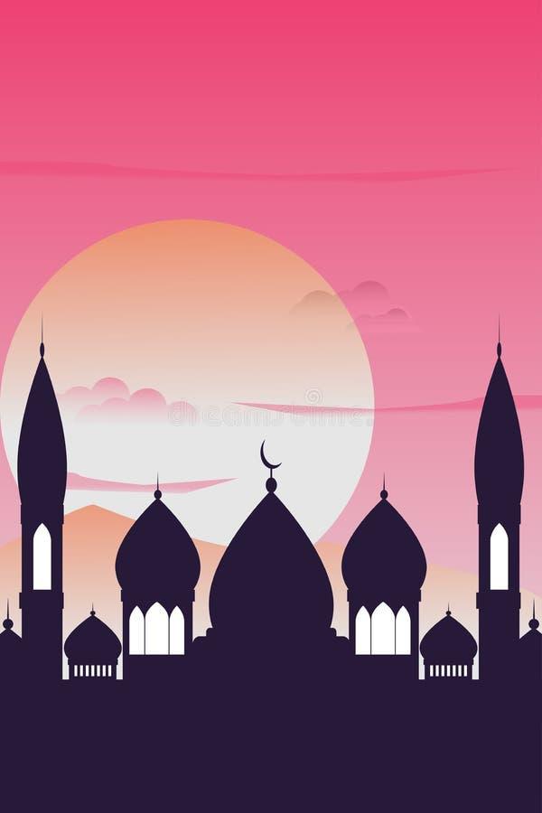 Hand getrokken Schets van koepel van de het ontwerpmoskee van Ramadan Kareem de Islamitische royalty-vrije illustratie