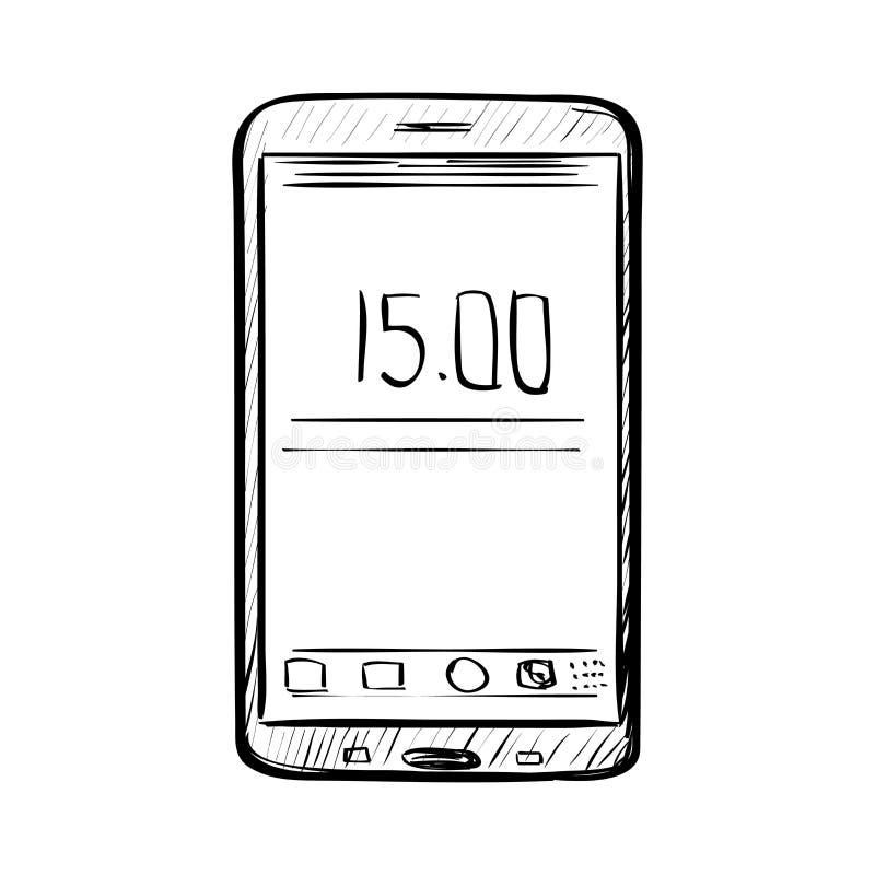 Hand getrokken schets van krabbeltelefoon vector illustratie