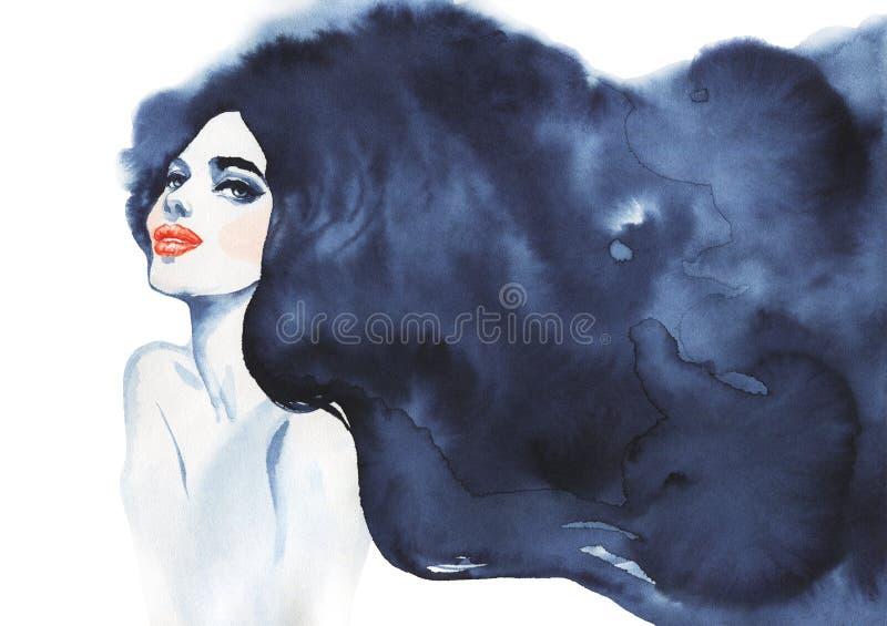 Hand getrokken schoonheids donkerbruine vrouw Waterverf abstract portret van sexy meisje stock illustratie
