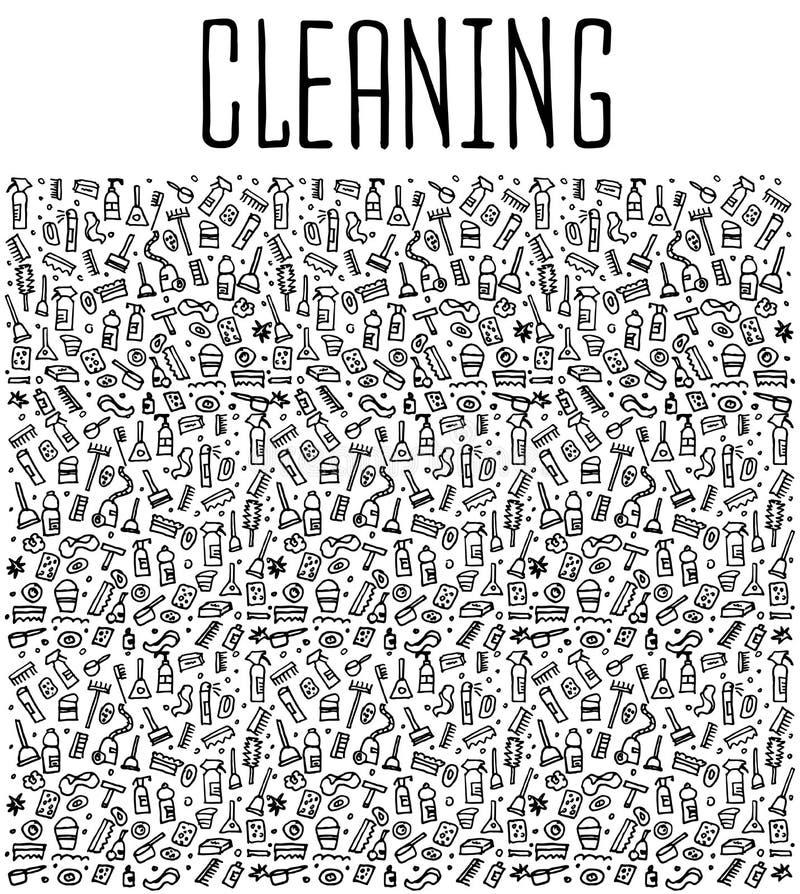 Hand getrokken schoonmakend hulpmiddelen naadloos patroon royalty-vrije illustratie