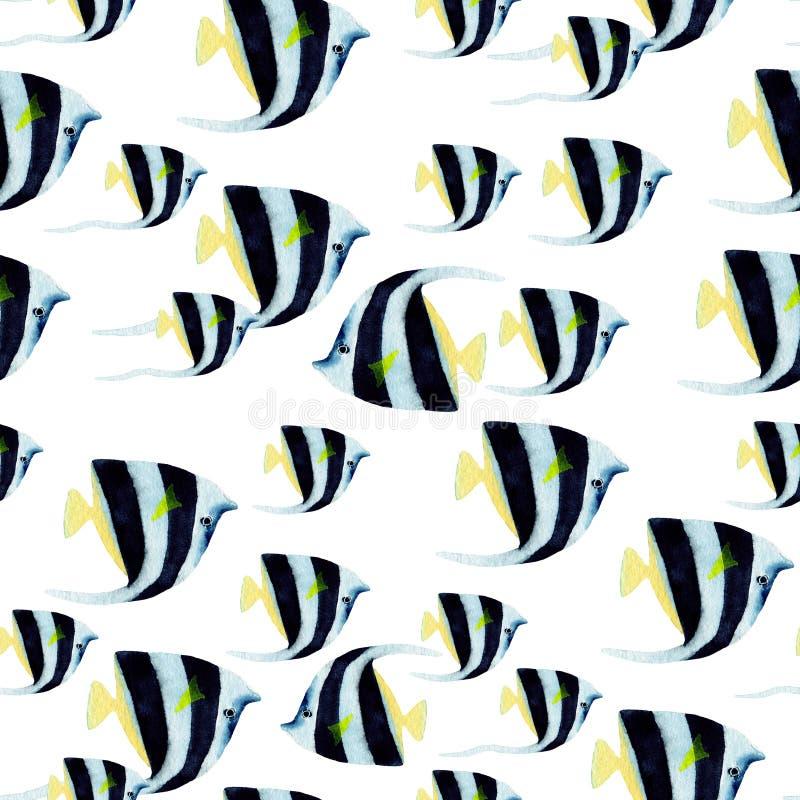 Hand getrokken seemless patroon in waterverf overzees wereld natuurlijk element Vissen op witte achtergrond stock illustratie