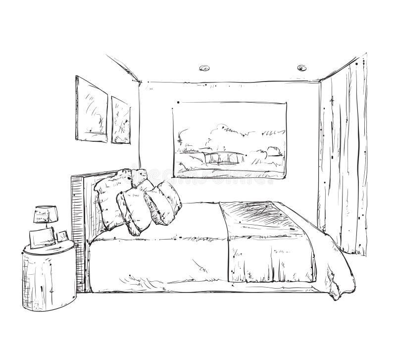 Hand getrokken slaapkamer binnenlandse schets vector illustratie