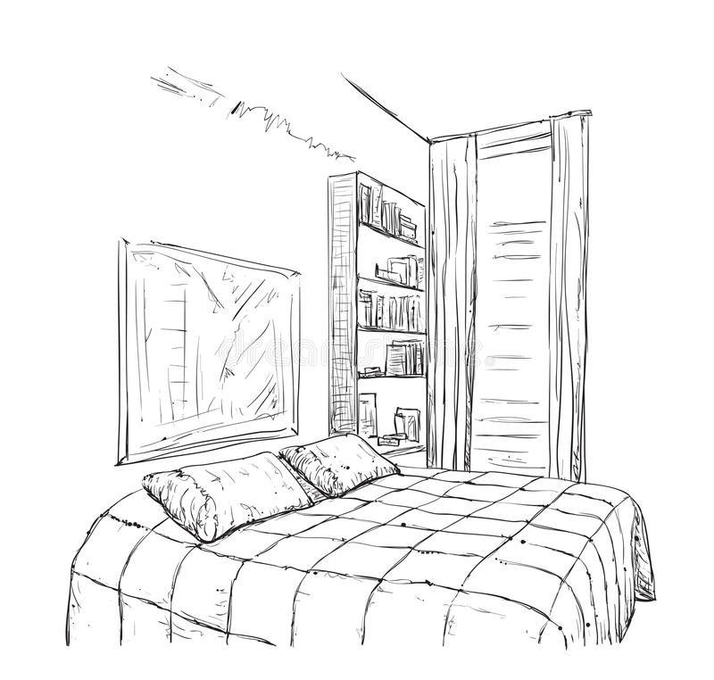 Hand getrokken slaapkamer binnenlandse schets stock illustratie