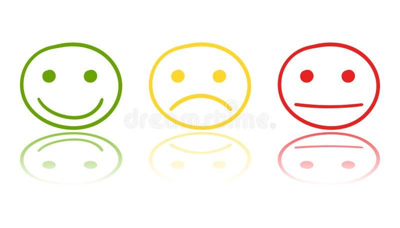 Hand getrokken smileypictogram op spiegel Vectorillustrati van het emotiegezicht stock illustratie