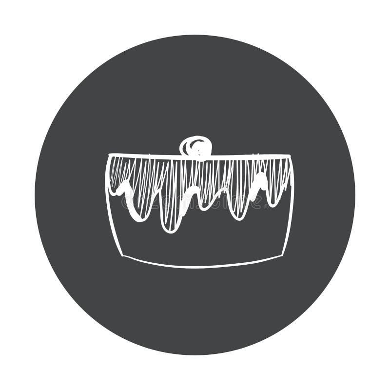 Hand Getrokken snel voedselsticker Bordpictogram met krijtontwerp Vector illustratie cake voor verwijderd stock illustratie