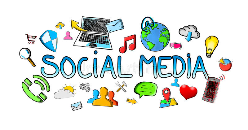 Hand getrokken sociale media illustratie met pictogrammen royalty-vrije illustratie