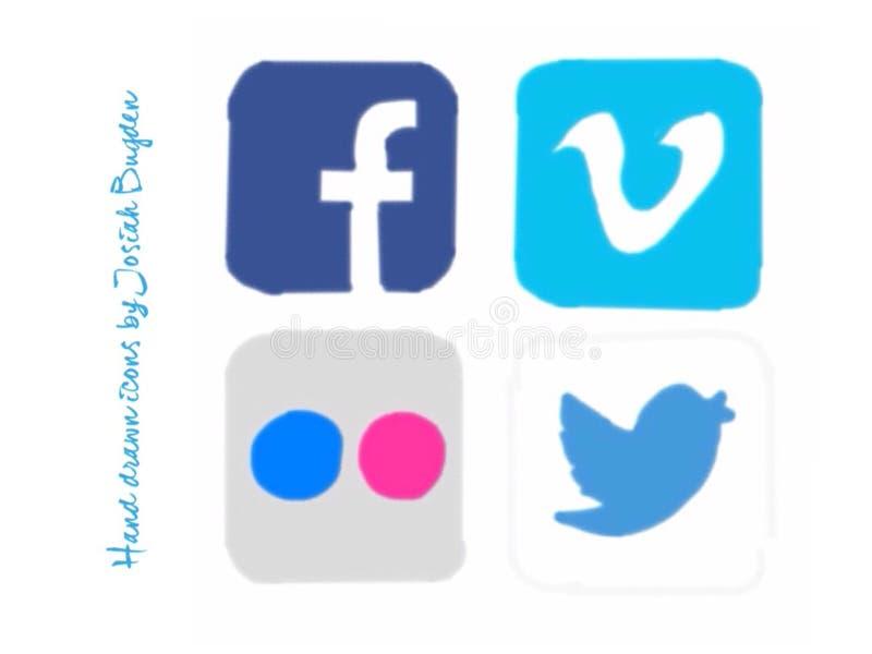 Hand getrokken sociale media pictogrammen stock illustratie