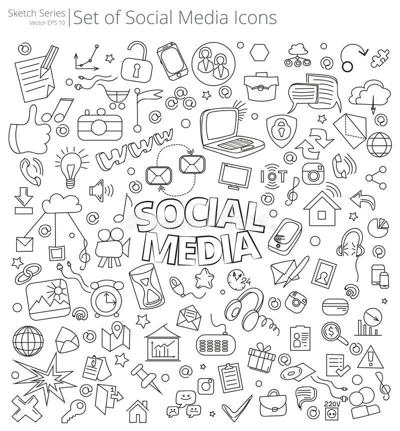 Hand getrokken sociale media pictogrammen royalty-vrije illustratie