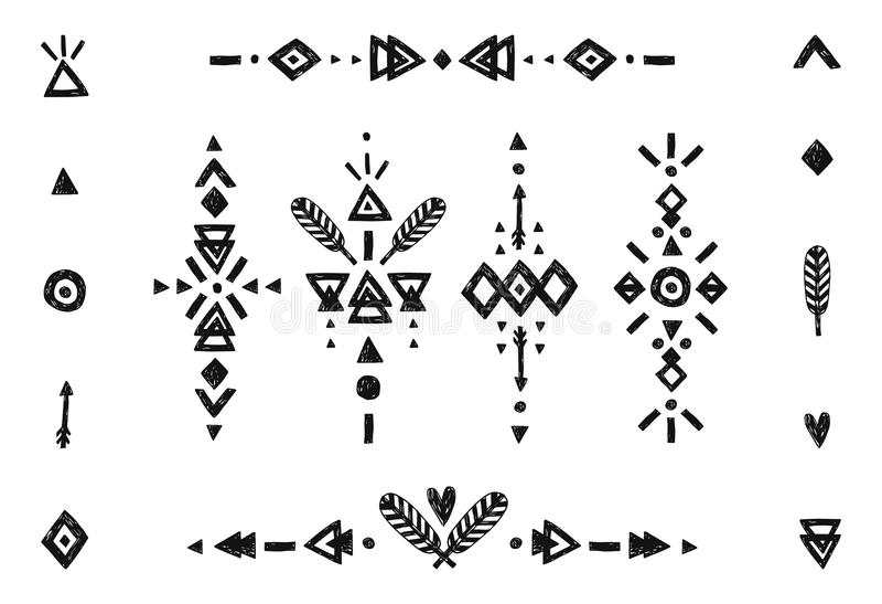 Hand getrokken stammeninzameling vector illustratie