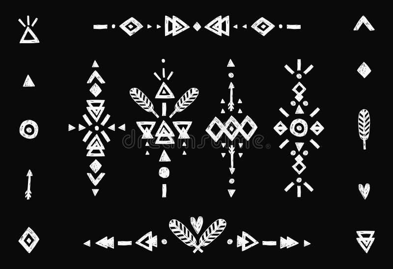 Hand getrokken stammeninzameling stock illustratie