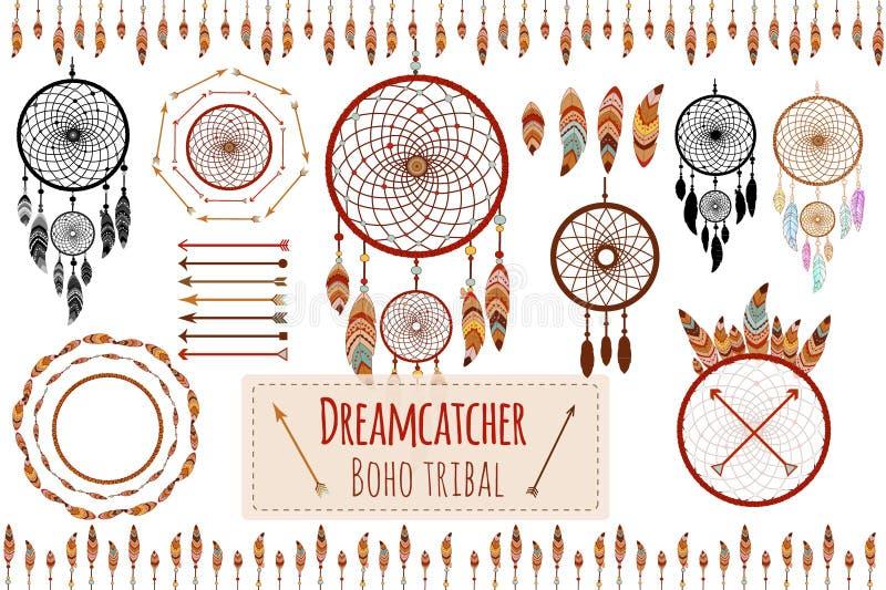 Hand getrokken stammeninzameling met pijlen, veren, dreamcatcher, kader en grens, bloemenelementen voor ontwerpembleem, uitnodigi royalty-vrije illustratie